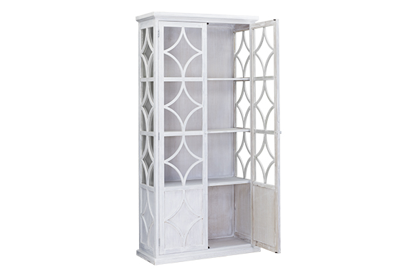 tall white glass cabinet with open door