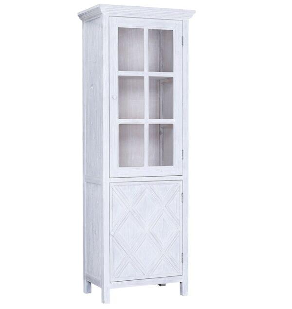 tall white slim glass cabinet