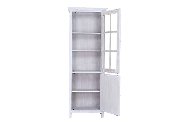 tall white slim cabinet with open doors