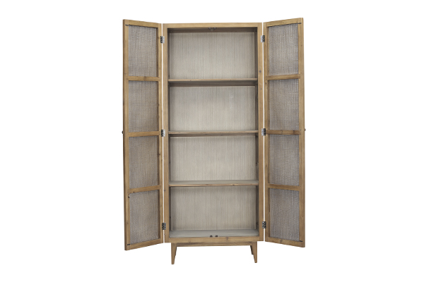 reclaimed wood tall cabinet with open doors