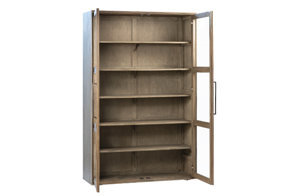 reclaimed wood glass cabinet with open doors