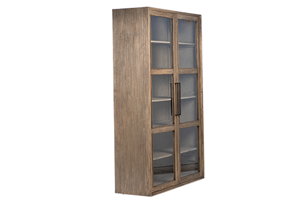 reclaimed wood glass cabinet side view