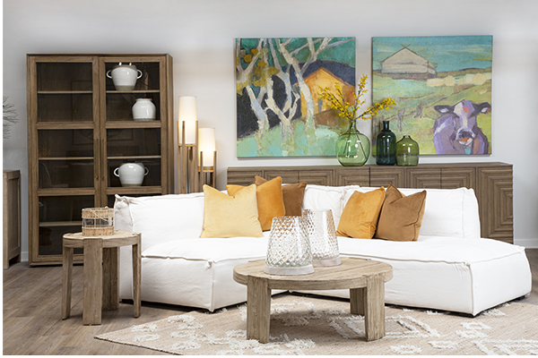reclaimed wood glass cabinet in living room setting