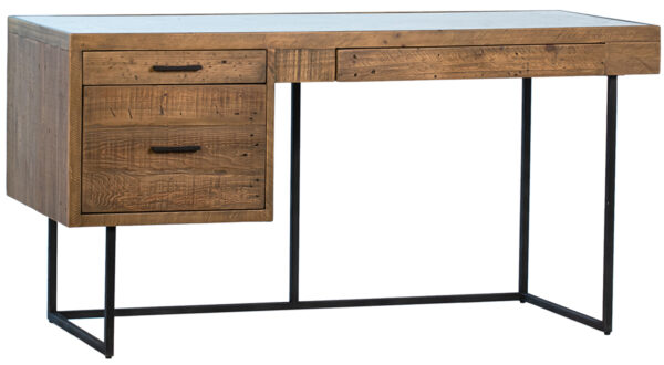 reclaimed wood and glass inset desk