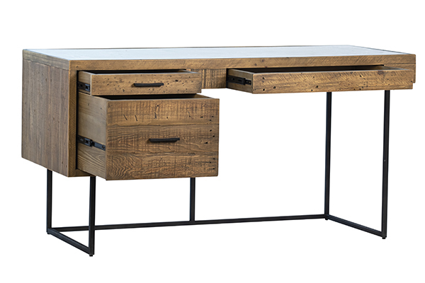 reclaimed wood and glass inset desk with open drawers