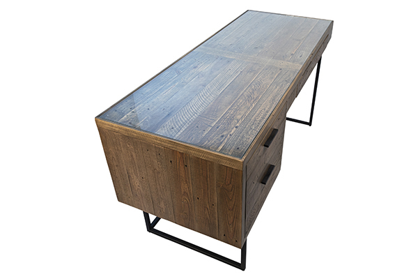 reclaimed wood and glass inset desk top view