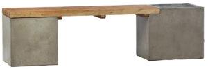 Bowman Concrete and Teak Wood Bench
