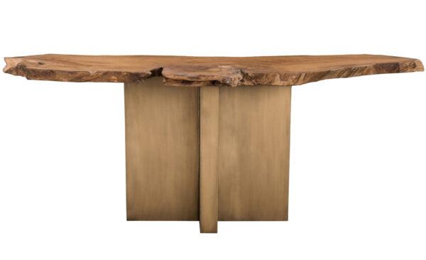 Live edge teak console table front view