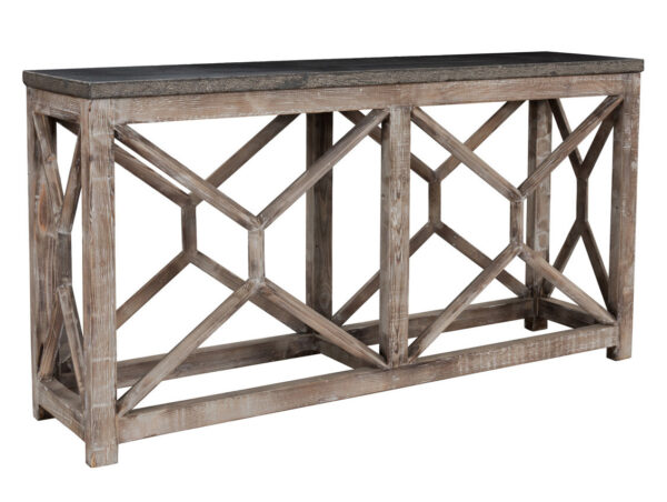 Wood console table with stone top side view