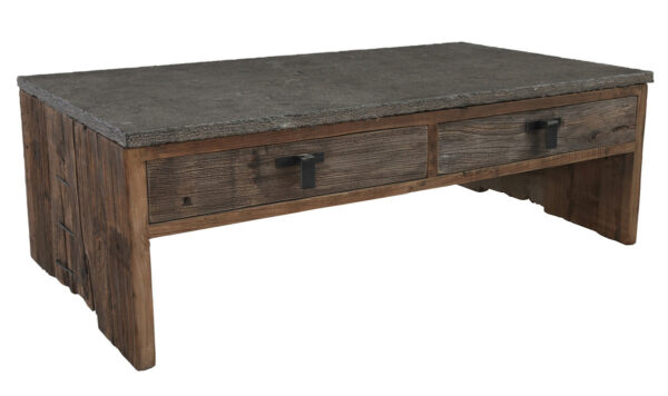 reclaimed wood and stone top coffee table