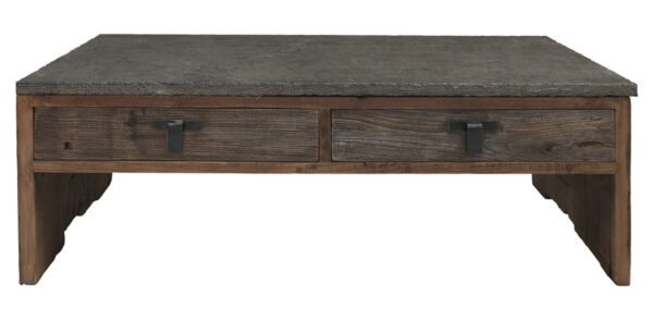 stone top and reclaimed wood coffee table front view