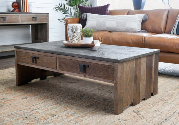 rustic wood and stone top coffee table in living room setting