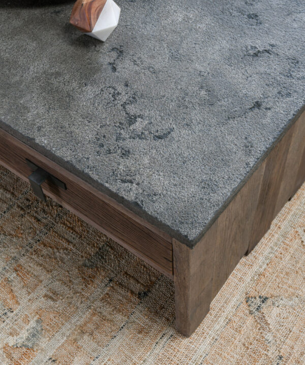 rustic wood and blue stone coffee table close up
