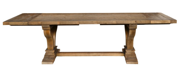 Trestle dining table with extensions front view