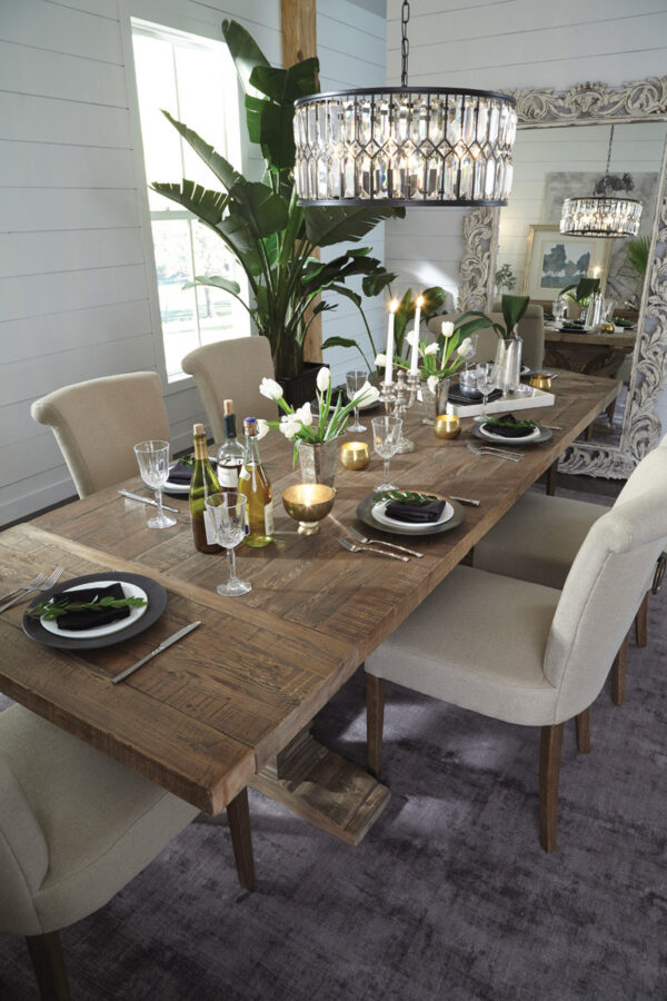 extendable wood dining table in dining room setting