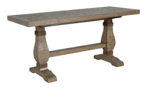 reclaimed medium brown wood counter table