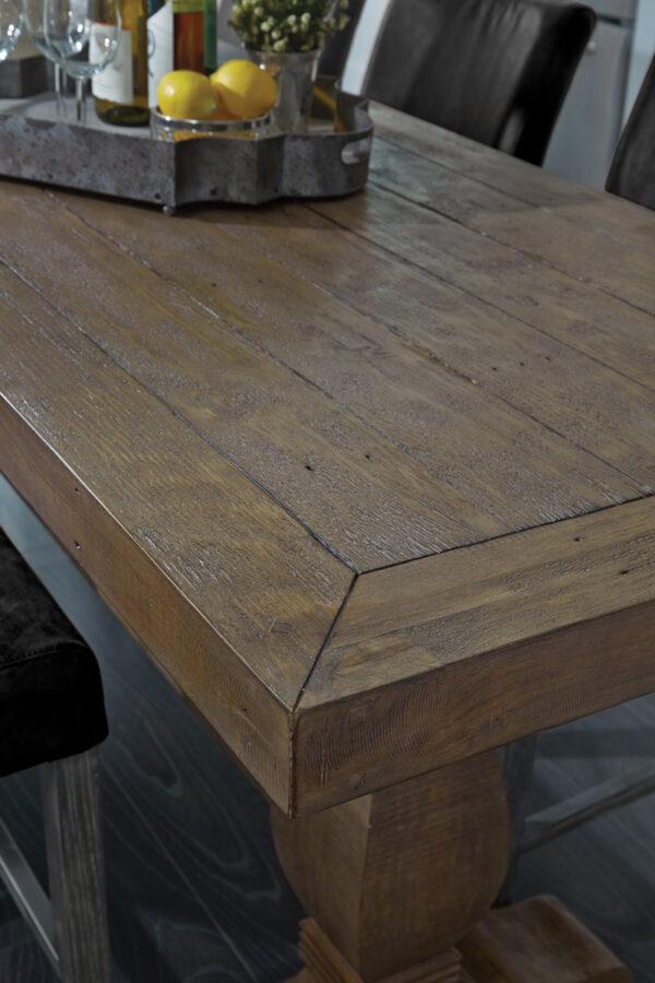 medium brown wood counter table close up