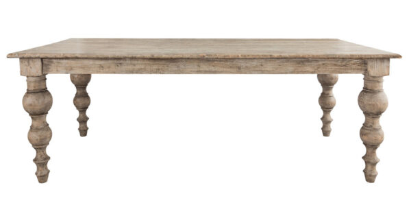 distressed wood dining table front view