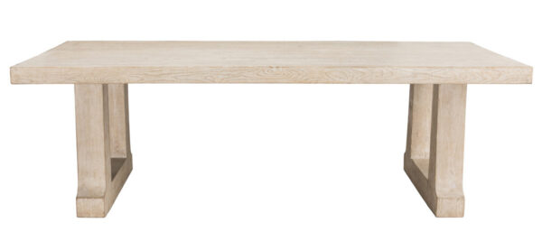 natural wood dining table front view