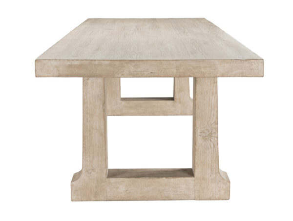 natural wood dining table side view