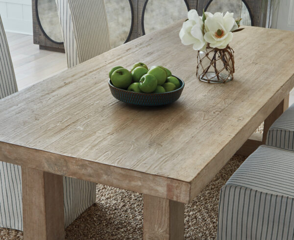 natural wood dining table top close up