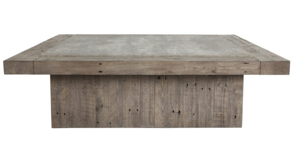 Square wood coffee table side view