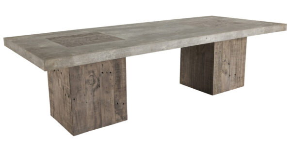 light concrete top and wood base dining table