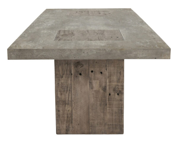 light cement top and wood base dining table