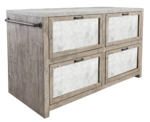 Henry 60″ Wood and Concrete Top Island Cabinet
