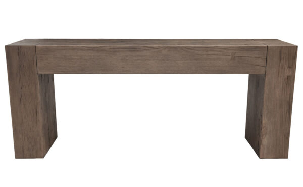 Linear console table with thick legs and top front view