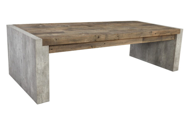 Rectangular Wood and Cement Coffee Table