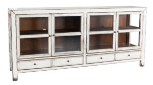 77″ White Washed Sideboard Cabinet with Glass Doors