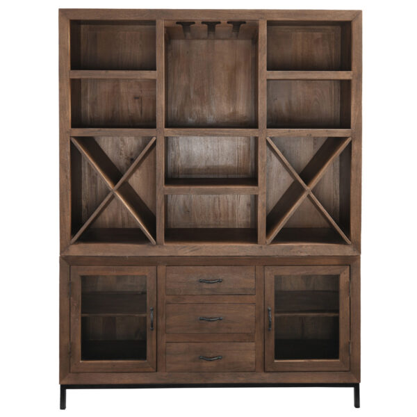 Solid wood dark brown large shelf and bar cabinet