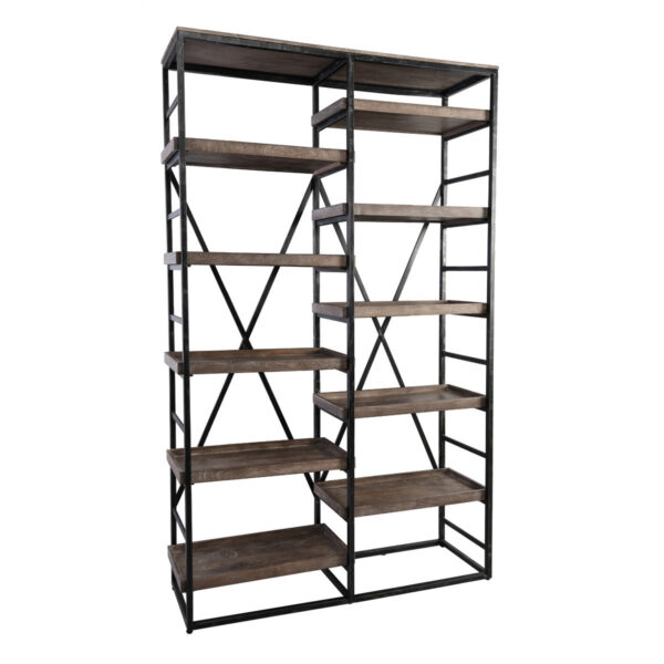 Wood and metal open shelf bookcase side view