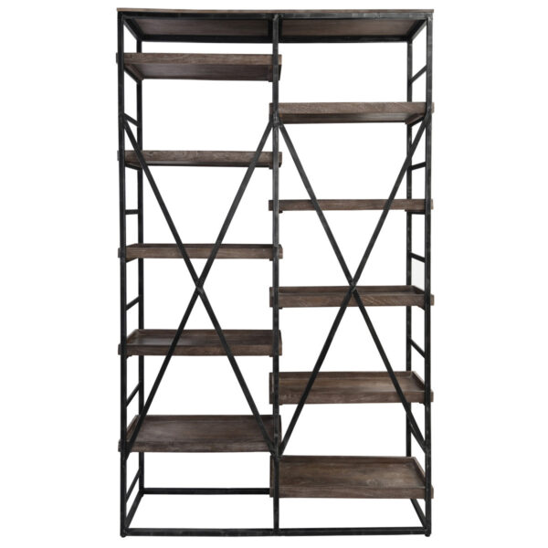Wood and metal open shelf bookcase