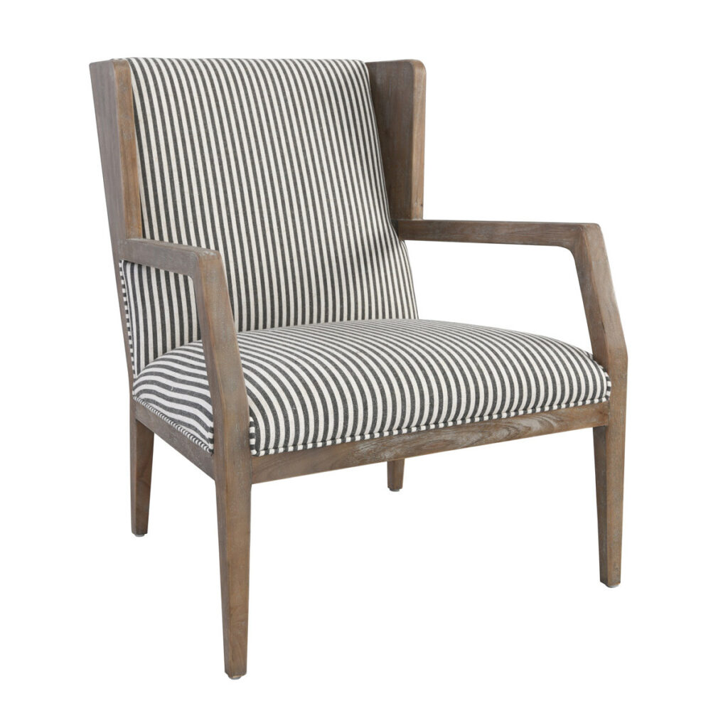 York Striped and Wood Accent Chairs (Set of 2)