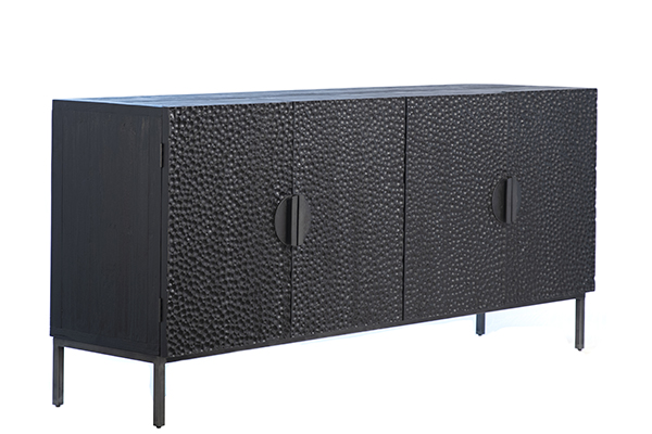 black wood and iron sideboard side view