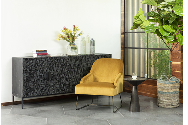 black wood and iron sideboard in living room setting