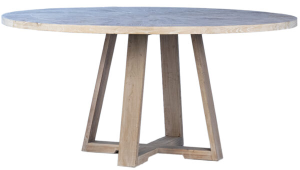 white wash round wood dining table front view