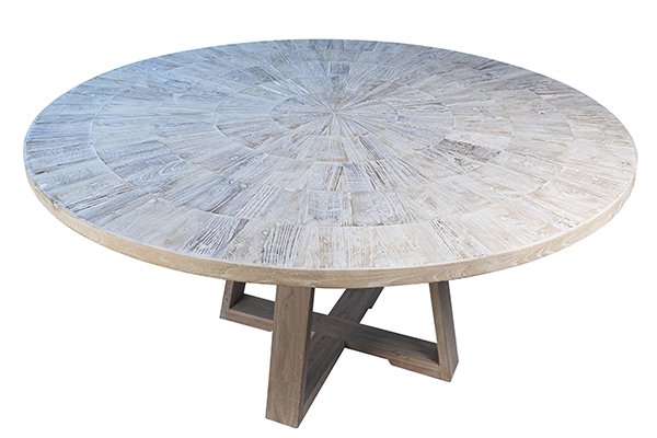 white wash round wood dining table top view