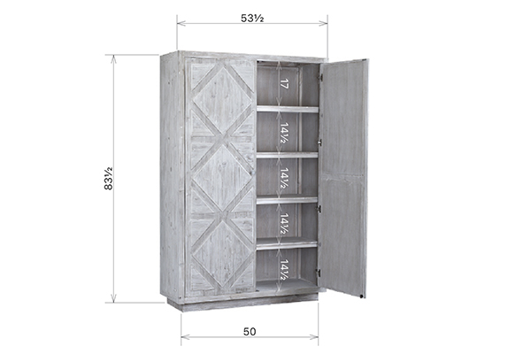 Large white wash tall armoire open doors view