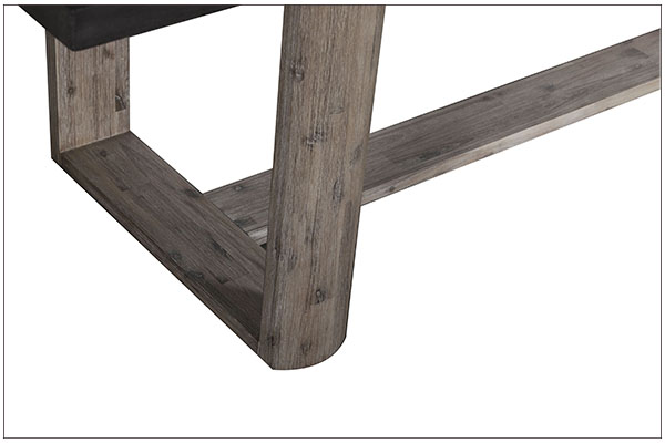 concrete top and wood base dining table close up