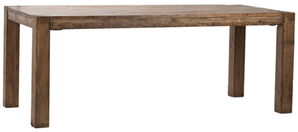 Reclaimed wood pine dining table with straight legs