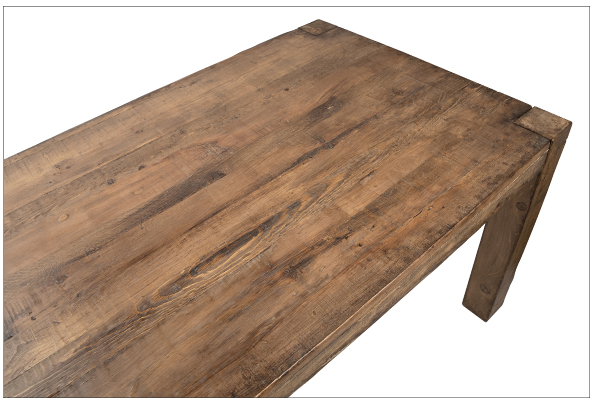 Reclaimed wood pine dining table with straight legs top close up