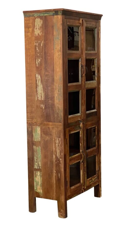 Tall wood cabinet with 4 doors with glass inserts side view