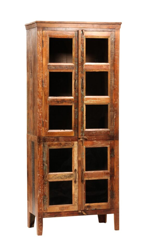 Tall cabinet with glass doors and strikes of color Nantucket style