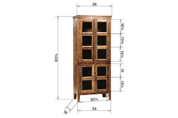 Tall wood cabinet with 4 doors with glass inserts