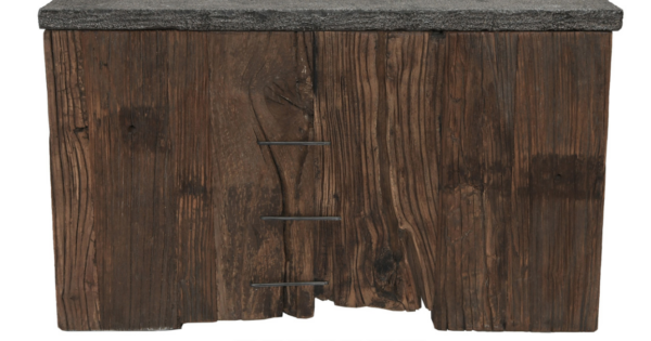 rustic wood and blue stone coffee table side view