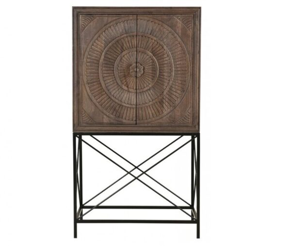 Wood and iron bar cabinet