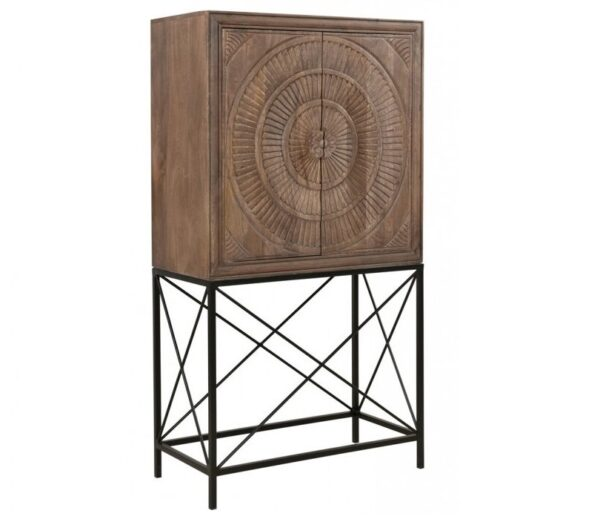 Wood and iron bar cabinet side view